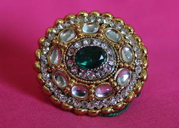 Finger Ring 5509 Golden Green Emerald Indian Fashion Ring Jewelry Shieno Sa