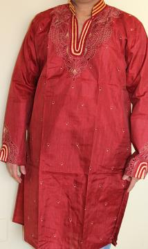 Cotton Embroidered Designer Red Kurta