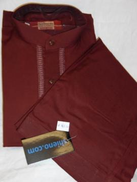 Maroon Salwar Kameez Pathani Suit for Men
