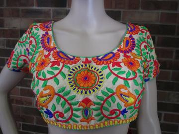 Mixed Color Silk Embroiderer Ready Blouse