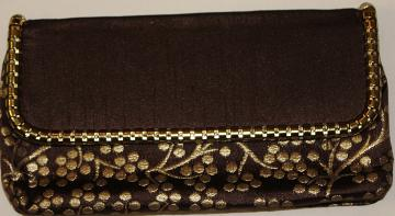 Brown Clutch / Purse from Indian w/ Golden Floral Pattern