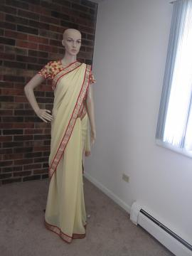 Beige Saree w/Red border Combination & Net Style Ready Blouse