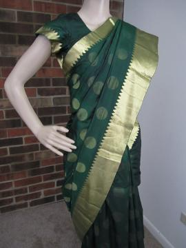 Pure Silk Bottle Green with Gold Zari Border Saree & Ready Blouse