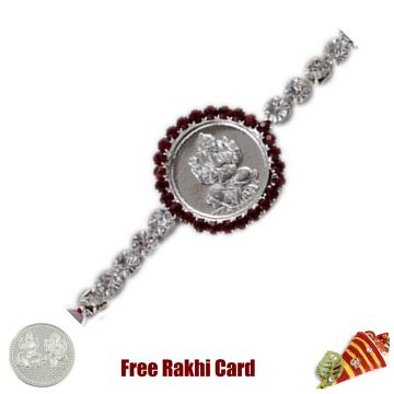 Ganesh Circle Jewelled Rakhi with Free Silver Coin