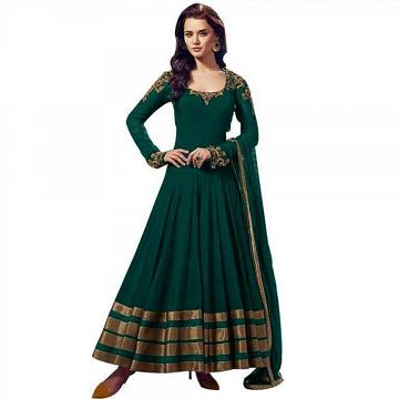Sea Green \w Gold Trim Long Anarkali Suit (Unstitched)