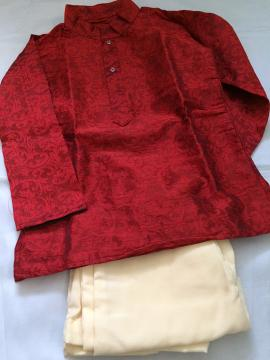 Self Design Maroon Kurta Pajama For Baby Boys