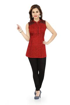 Maroon Short Tunic Top With Pintex And Embroidery Design