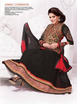 "Black & Red Combination AnarKali Dress \w Jacket (S 38"")"