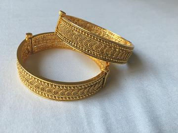 One Gram Gold Plated Traditional Design Bangles - Set of 2