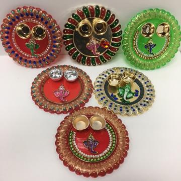 Round Festive Decorated Pooja Thali \w Katoris 6'' x 6''