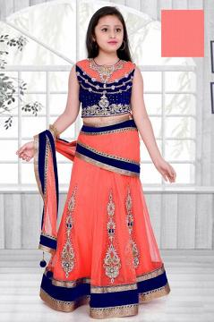 Embroidered Lehenga Choli in Coral & Blue for Girls