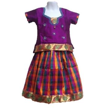 50% off Sale- Colorful Design Pattu Pavadai ,10 - 11 yr