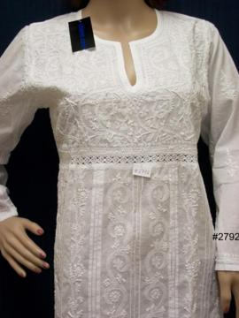 White Cotton Lucknawi Chikan Work Kurti Tunic