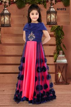 Royal Blue & Fuchsia Party Wear Long Gown Dress for Girls