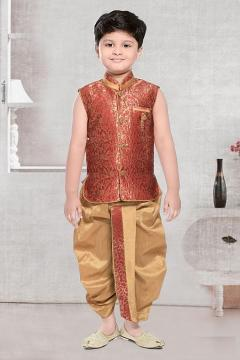Beige Maroon Sleeveless Dhoti Kurta for Baby Boys & Toddlers