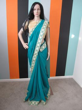Designer Green & Gold Saree w/ Gold Ready Blouse (Clearance Sale )