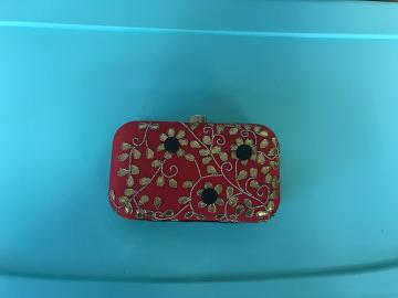 Handmade Red & Black Floral Clutch Purse
