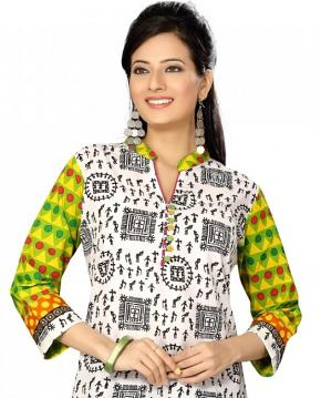 Abstract and Vivid Print Multicolors Cotton Kurti Tunic Size 42
