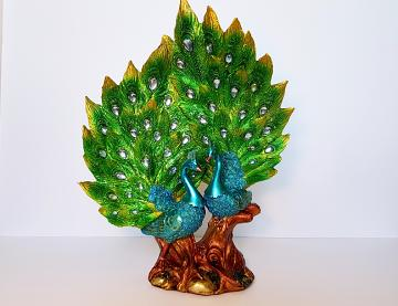 "Beautiful  Majestic 14"" Peacock Statue   Home Decor Office Feng Shui Gift"