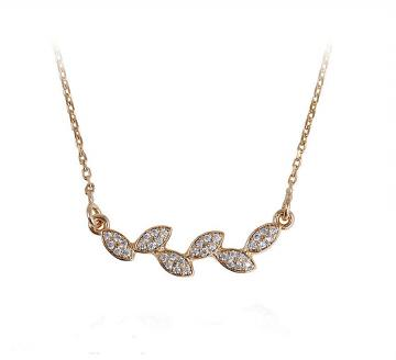18K Gold plated Leaves Necklace w/ Rhinestone Work