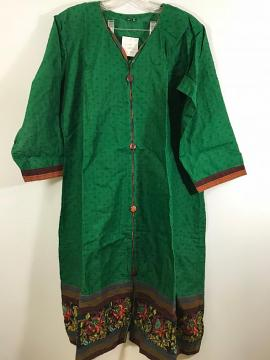 Green Long Casual Cotton Kurthi w/ Sleeves in Plus Size
