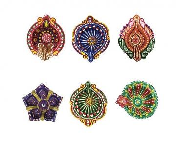 Assorted Festive Design Painted Bulk Clay Diyas for Diwali 96 Pcs