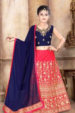 10 to 12 Year Girls Peach Pink & Navy Blue Lehenga Choli w/ Blue duptta