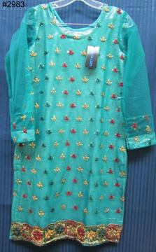 Pleasing Green Net Cocktail Embroidered Kurti - Small Size
