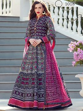 Anarkali Churidaar Black, Blue & White Long Salwar Kameez M/L