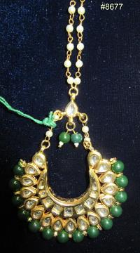 Mang Tikka, Gold Kundan encrusted Crystal Stones & Green Beads