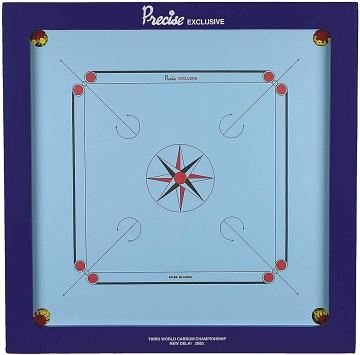 Precise Exclusive-20mm Carrom Board With Coins, Striker, And Powder