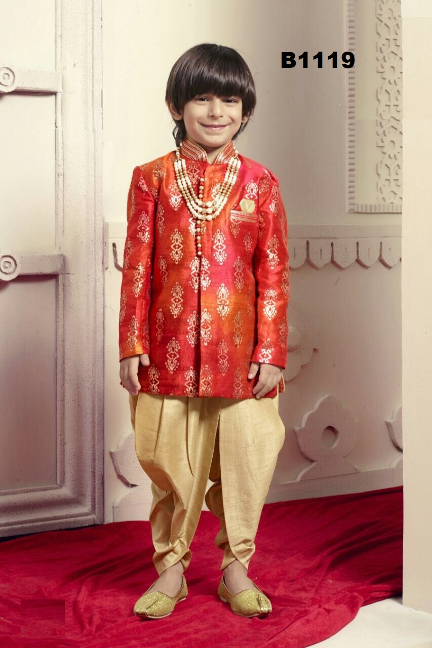 175e5d0ce Gold & Red Party Wear Dhoti Kurta Suit for Children #30765 | Buy Online @  DesiClik.com, USA