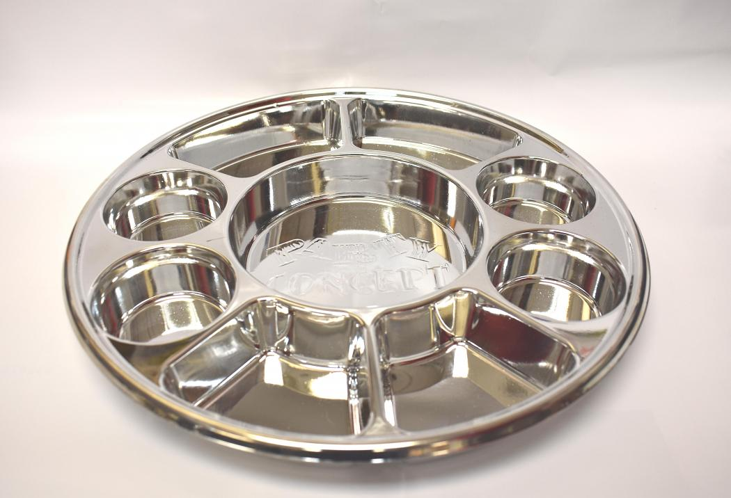 Disposable 9 Compartments Silver Round Party Tray/ Thali/ Plates - 400 Pack : disposable thali plates - pezcame.com