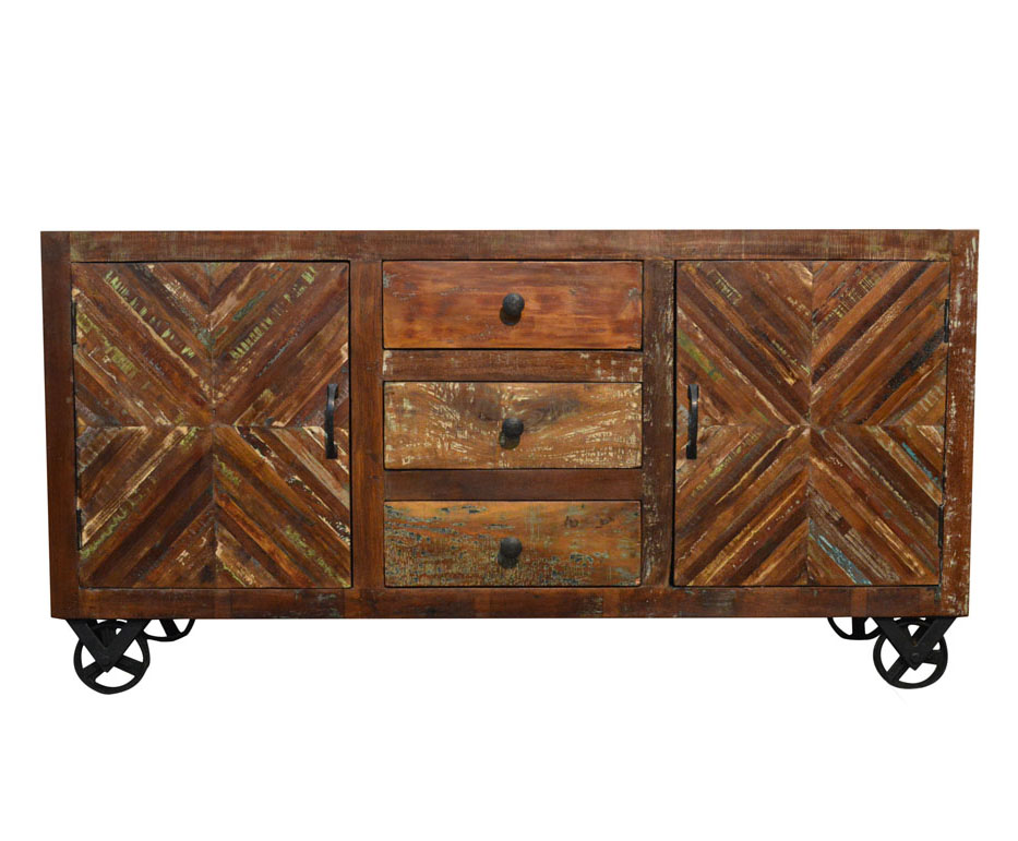 Rustic wood industrial sideboard buffet table storage