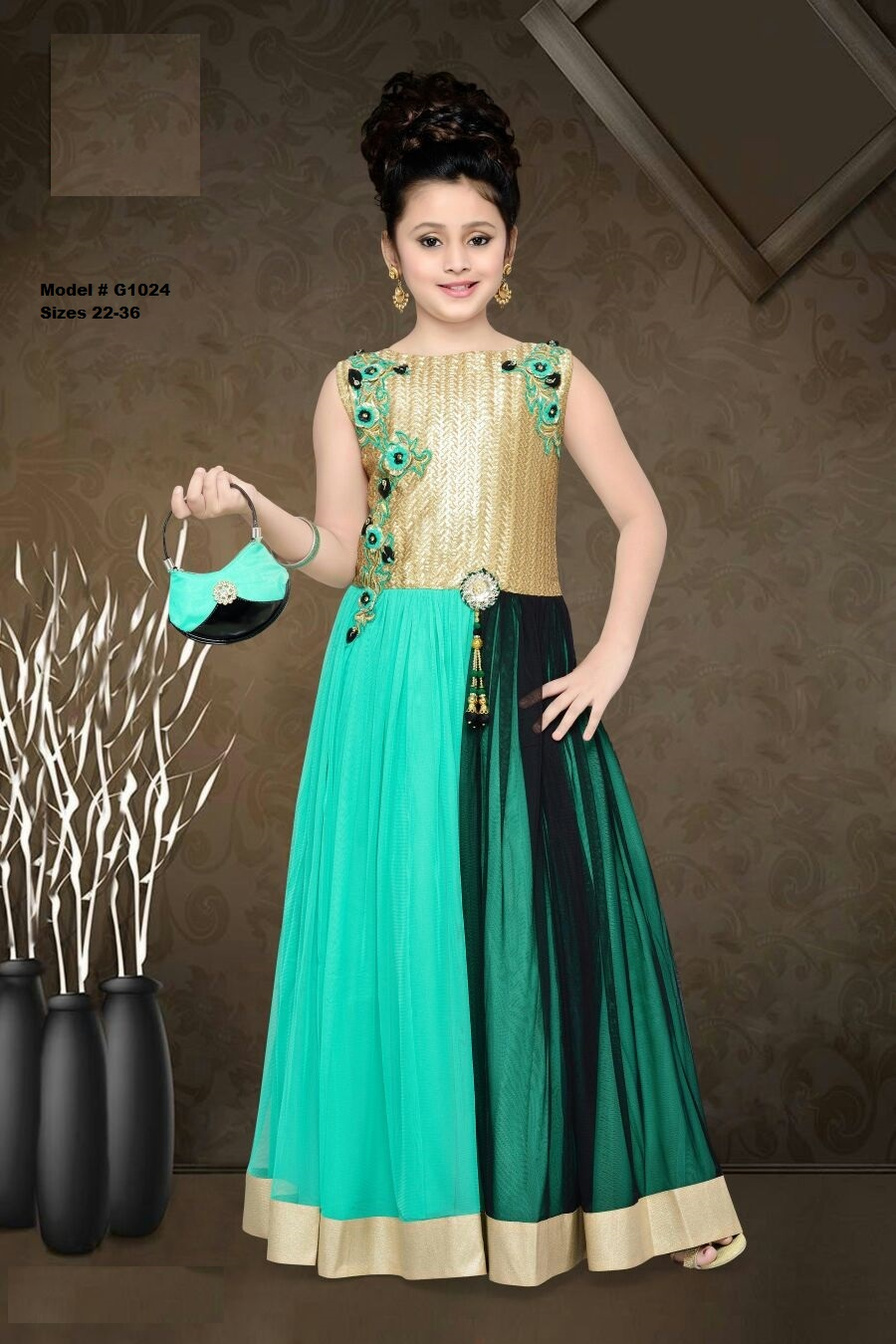 Green Gold Indian Ethnic Kids Designer Long Gown Party Wear 7 - 8 ...
