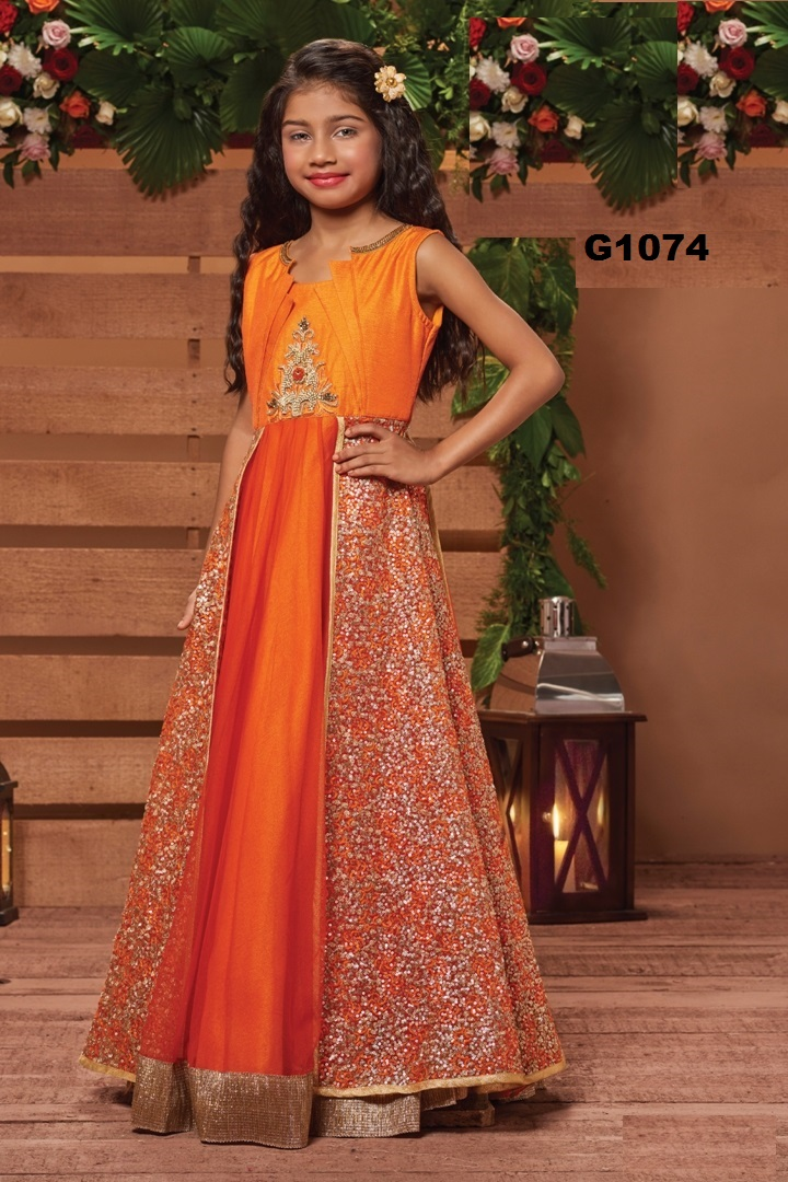 aff077f28 Festive Orange Long Frock Gown Party wear Dress for Girls  27796 ...