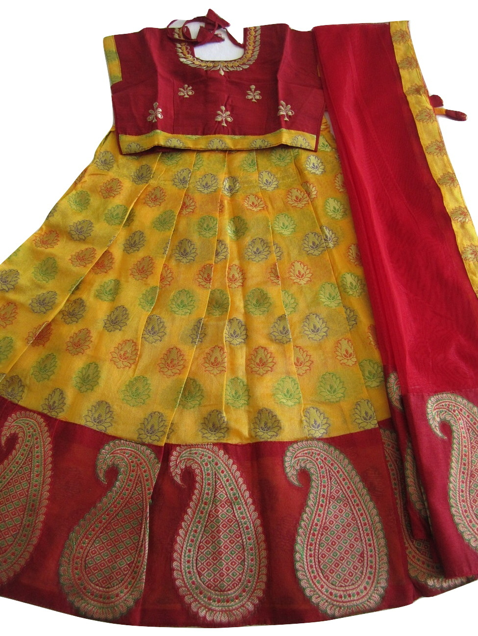 a0065a7767fa63 Yellow   Maroon Chanderi Silk Langa Voni for Girls 4   5 Year Old  33785