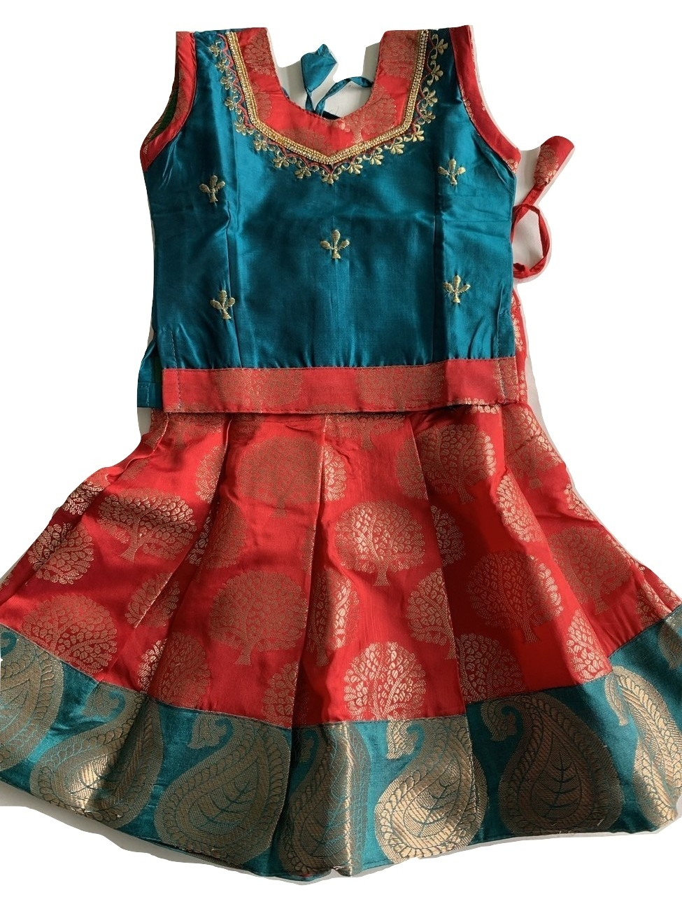 7d1f338491f744 Red   Green Baby Girl Pattu Pavada Parinikini Up to 1 Year Old  36425