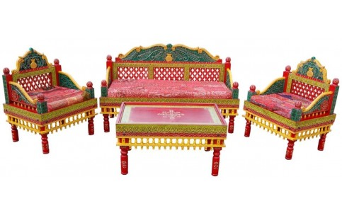 Traditional Hand Carved Classic Sofa Set (3 Pcs, 1 Sofa U0026 2 Chairs)