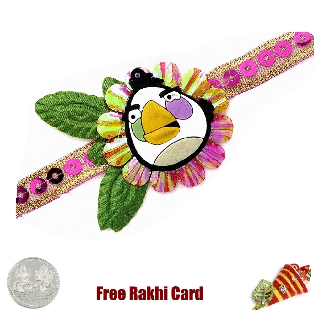 Angry Bird Character Rakhi With A Free Silver Coin Send