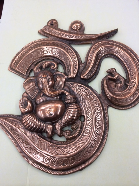 Large Ganesh U0026 OM Symbol Copper Wall Decor