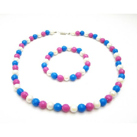 Blue And Pink Beaded Necklace And Bracelet Jewellery & Watches