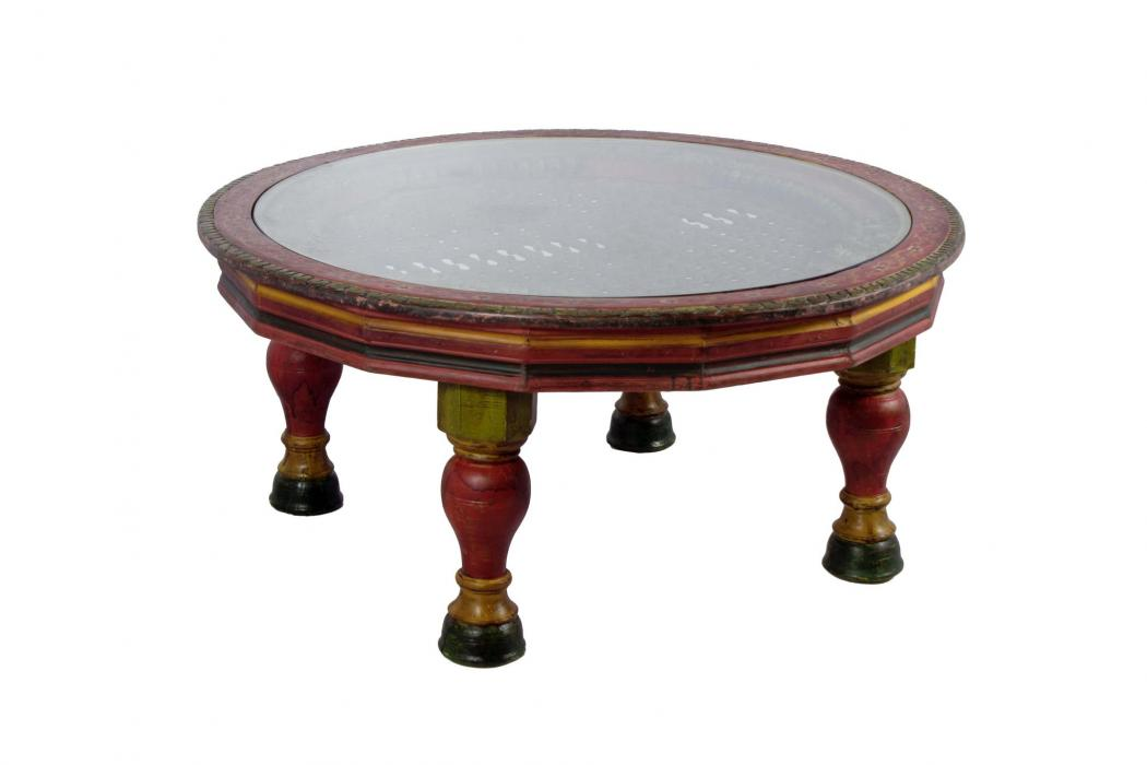 Wooden Handmade Round Coffee Table 48 Large Carved Table