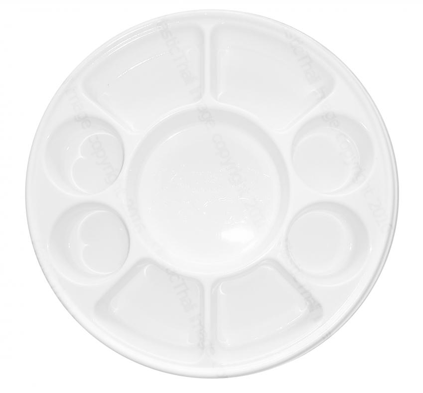 Round 9 Compartment Plastic Disposable Thalis - 50 plates  sc 1 st  DesiClik.com & Disposable Plastic Thali 50 Pcs 9 Compartment Indian Style Round ...