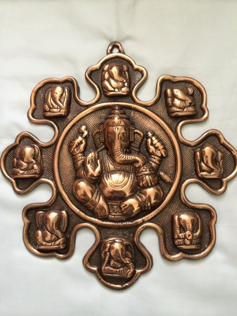 Antique Copper Ganesha Wall Hanging Religious Home Decor