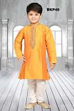 Festive Bright Orange White Embroidered Kids Kurta Pajama