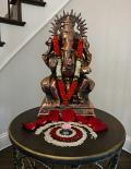 Antique Copper Large Ganesha Statue - 15""