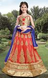 Red Embellished Kids Lehenga Choli w/ Royal Blue Dupatta