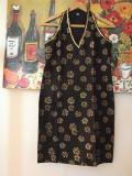 Halter Neck Kurti, Black & Gold Block Printed Tunic from India