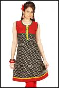 Jaipuri Cotton Kurti in Ethnic Multi color Print, Plus Size